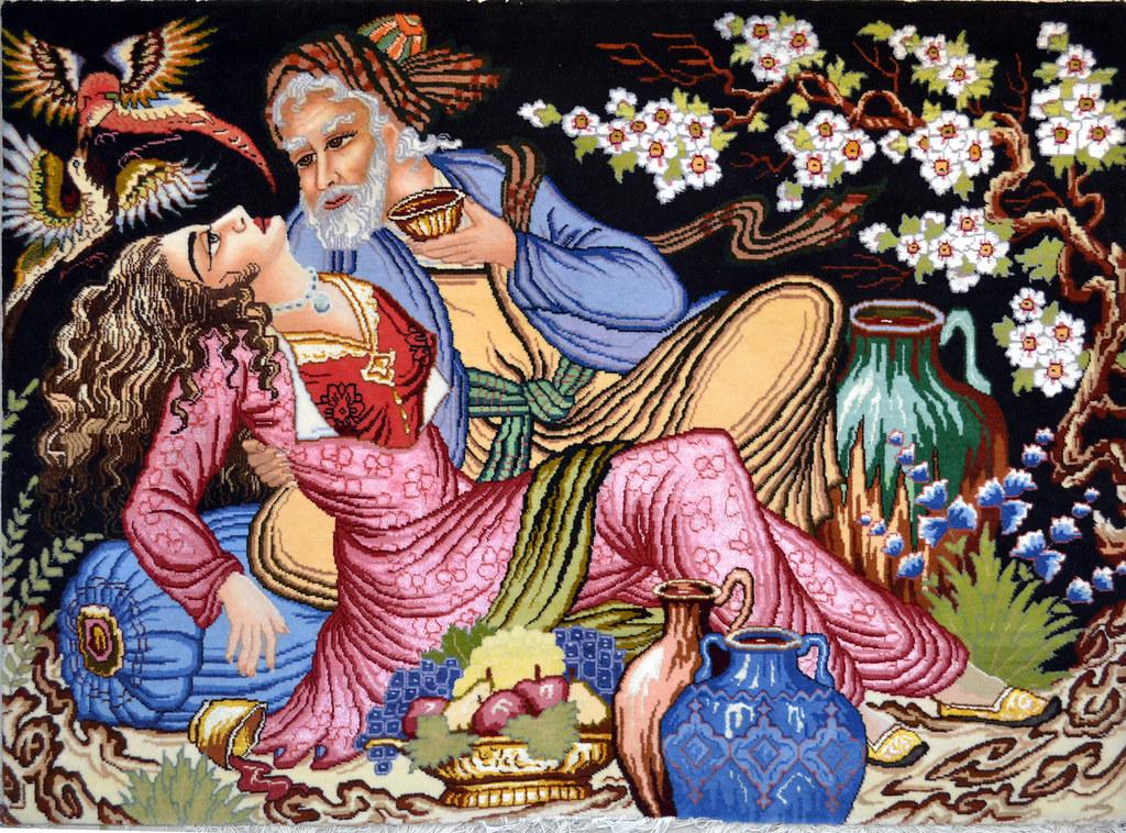 Omar Khayyam - Saghi - Persian Tableau Rug