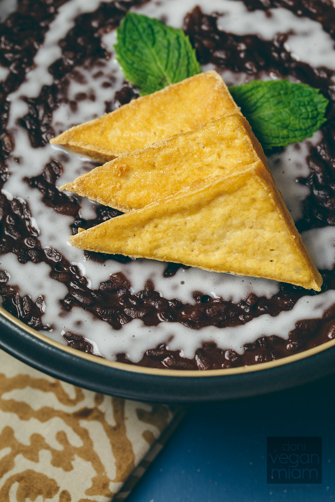 vegan champorado (filipino chocolate rice porridge) with salted tofu chips
