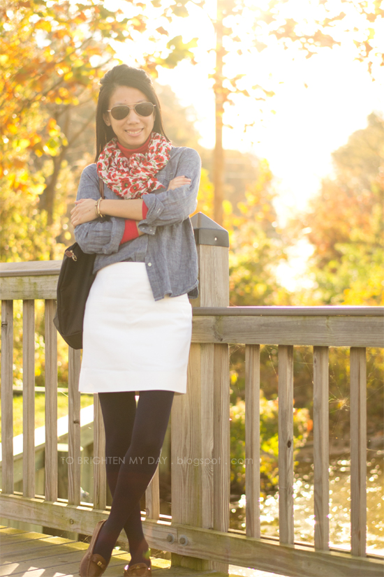 floral scarf, chambray shirt, white wool skirt, brown loafers