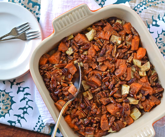 Whiskey Glazed Sweet Potato Bake with Pecans and Apples