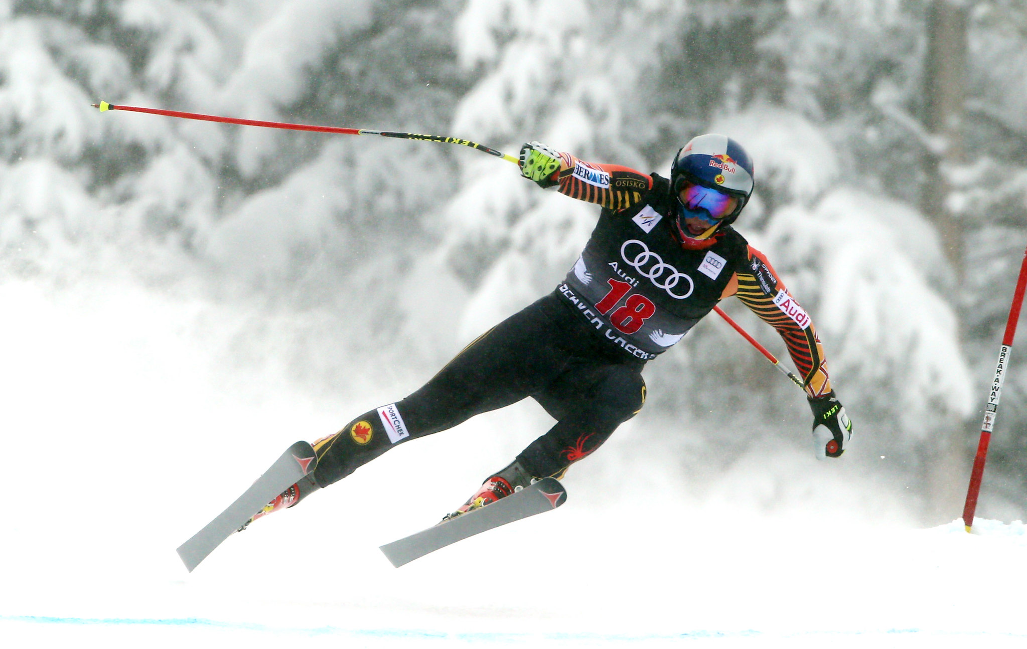 Erik Guay in action in the downhill at the FIS Alpine World Cup in Beaver Creek, USA