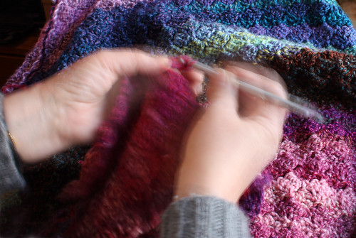 Crocheting a blanket by Helen in Wales