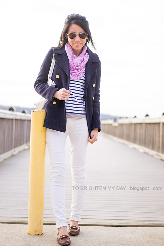 lilac scarf, navy peacoat, striped top, white jeans, brown loafers