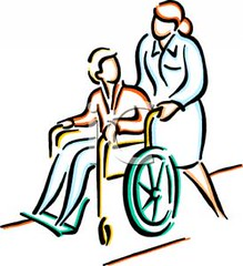 A_nurse_pushing_a_person_in_a_wheelchair_100401-133646-684009