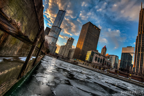 city winter sunset chicago tower ice skyline canon river amazing cool dangerous cityscape awesome perspective deep freezing windy freeze icy trump 16mm hdr riverscape 5dm3 secondcityperspective