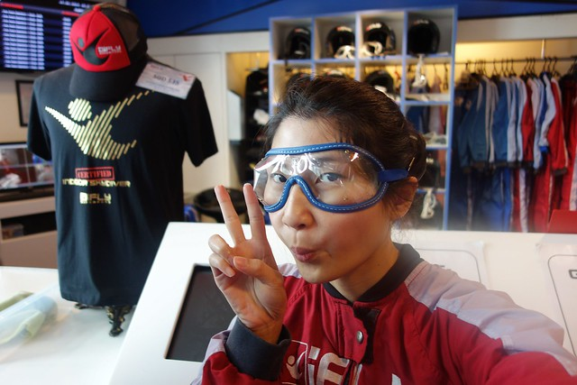 Wearing sky diving googles at iFly!