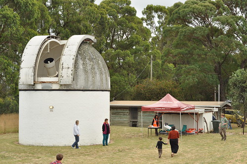 First visitors arriving for the Mount Burnett Observatory Open Day 2014
