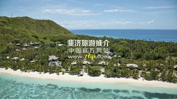 斐济沃莫岛度假酒店(Vomo Island Resort)主要建筑与周边珊瑚礁