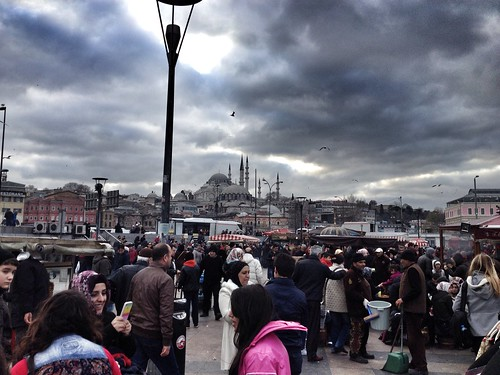 crowds on the galata bridge