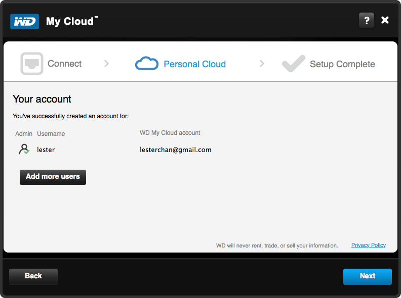 WD My Cloud Setup - Step 5