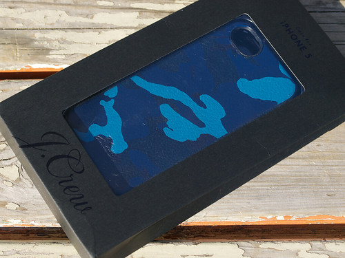 J.Crew / Leather Patterned Case for iPhone 5/5s - Blue Camo