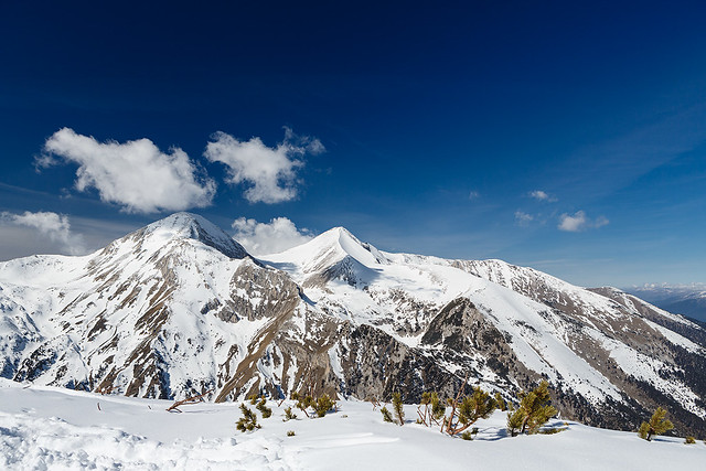 Mountains covered with snow in Pirin National Park, Bansko, Bulgaria