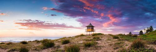 ocean seascape tower beach water clouds sunrise sand nikon pano australia panoramic nsw colourful centralcoast d800 theentrance sharktower brucehood d800e