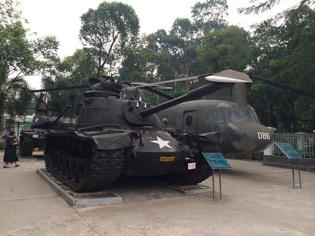 Military tank and helicopter