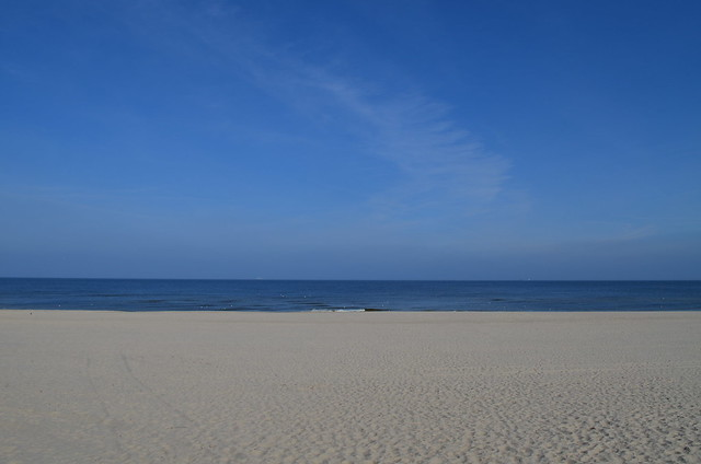 Ahlbeck beach Germany_sand sea and blue sky