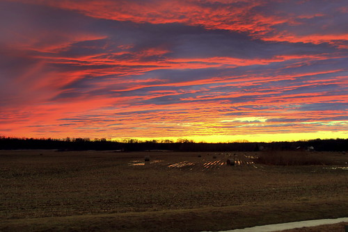 sunset red field clouds newjersey harrison farm straw rudderow