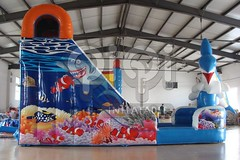 Dolphin jumping inflatable water slide-05