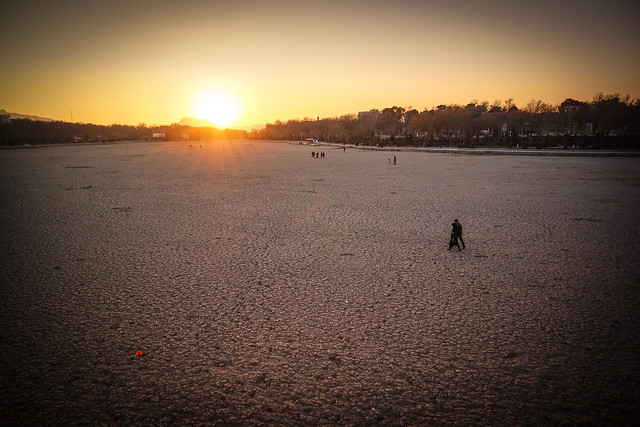 The dry riverbed of Karun at sunset