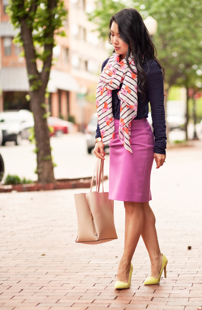 cute & little blog | petite fashion | navy polka ruffle top, floral stripe scarf, pink pencil skirt, neon yellow pumps | spring outfit