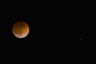 The Blood Moon, 12:45AM PDT, 15 April 2014.  Here it is fully eclipsed (deepest totality).