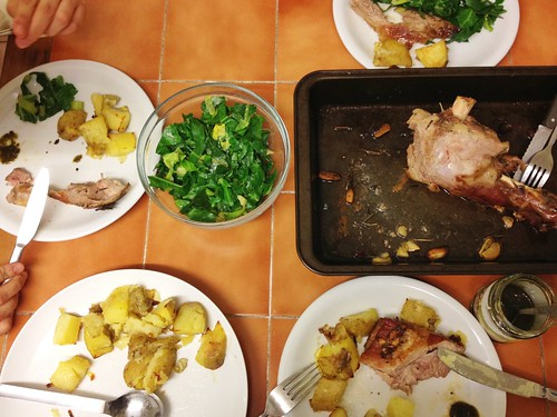 lamb shoulder roasted with rosemary and garlic