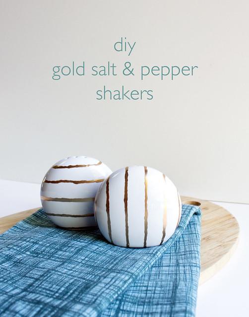 DIY Gold Striped Salt & Pepper Shakers