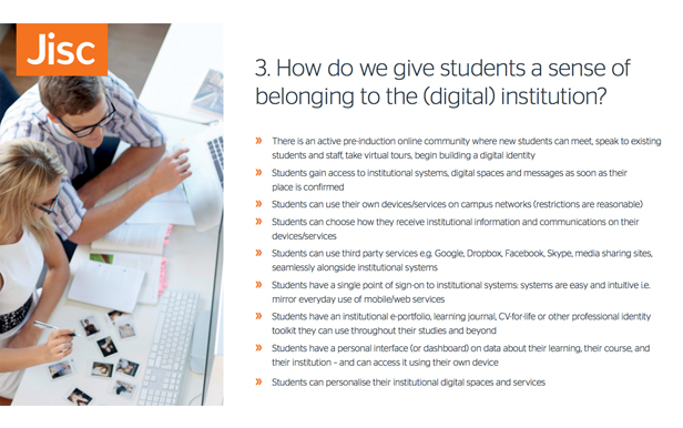 Jisc Digital Experience Card - How do we give students a sense of belonging to the (digital) institution?