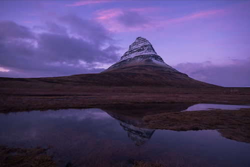kirkjufell iceland winter sunset reflection february snow grasses cold churchmountain