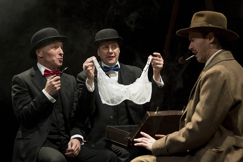 Gary Mackay, Tony Bell and Richard Ede (Richard Hannay) in The 39 Steps, Photo credit: Dan Tsantilis