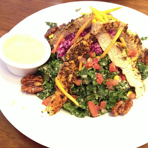 All Hail Kale w. Blackened Vegan Chicken at Veggie Girl w. @diannewenz #vvc2013 #vegan #pdx