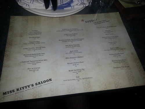 Miss Kitty's Saloon Menu