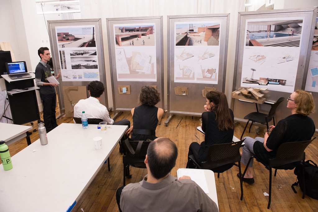 M.Arch. student Juan Rodriguez Lopez presenting his work.