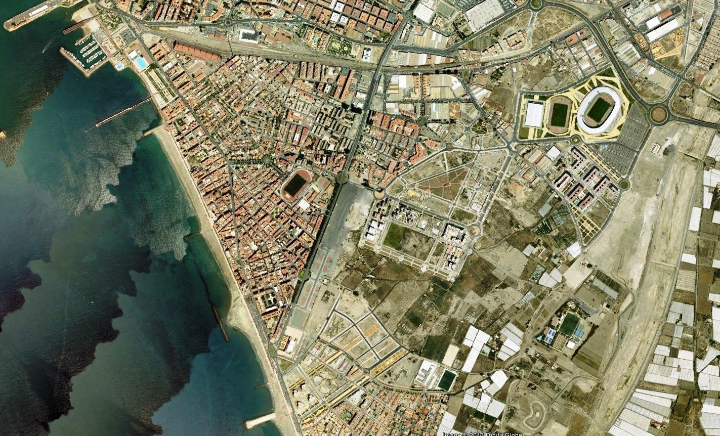 después, urbanismo, foto aérea,desastre, urbanístico, planeamiento, urbano, construcción,  Almería, Toblerone