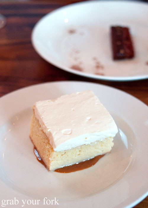 tres leche with dulce de leche dessert at animal restaurant los angeles by jon shook and vinny dotolo