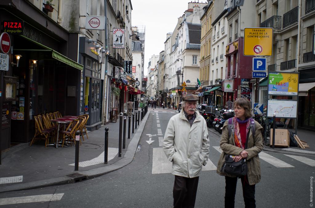 Paris, People on Rue Mouffetard in Quartier Latin