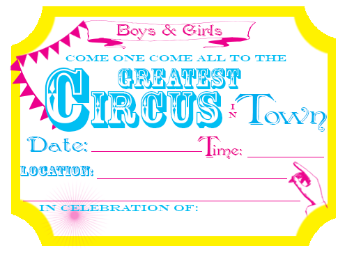 Printable - Circus Party Invites