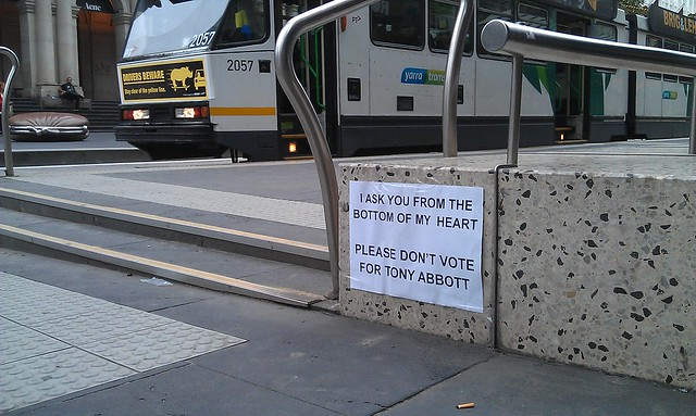 "In the Bourke St Mall: ""Please don't vote for Tony Abbott."" #AusVotes"