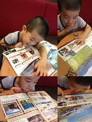 旅行パンフレット読むとらちゃん 2013/9