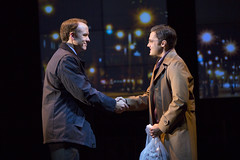 David Wilson Barnes and Joe Paulik in the Huntington Theatre Company's production of Stephen Belber's THE POWER OF DUFF.  October 11-November 9, 2013 at South End/Calderwood Pavilion at the BCA.  Photo T.Charles Erickson