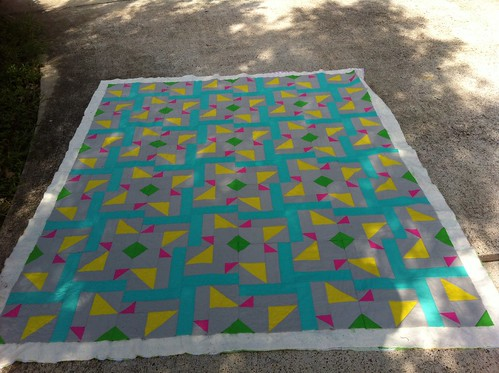 About half the quilting is done... Not that you can see it.