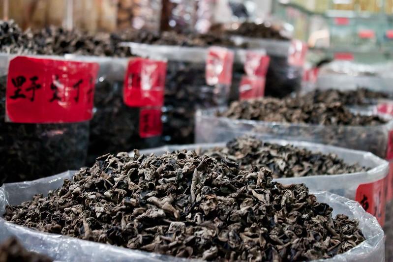 Sacos de té en el mercado de Qingping.