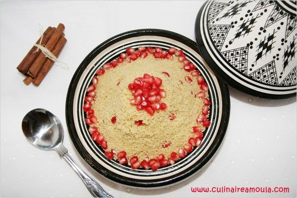 Couscous aux grenades, amandes et miel  http://www.culinaireamoula.com/article-couscous-aux-grenades-amandes-et-miel-120812673.html