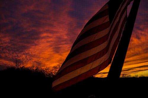 sunset flag firey