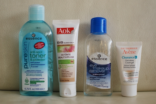 essence pure skin anti-spot toner & powder |  essence eye makeup remover waterproof |  Aok B.B. Blemish Balm |  Avène Cleanance K