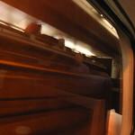 Streaks of light in the train window