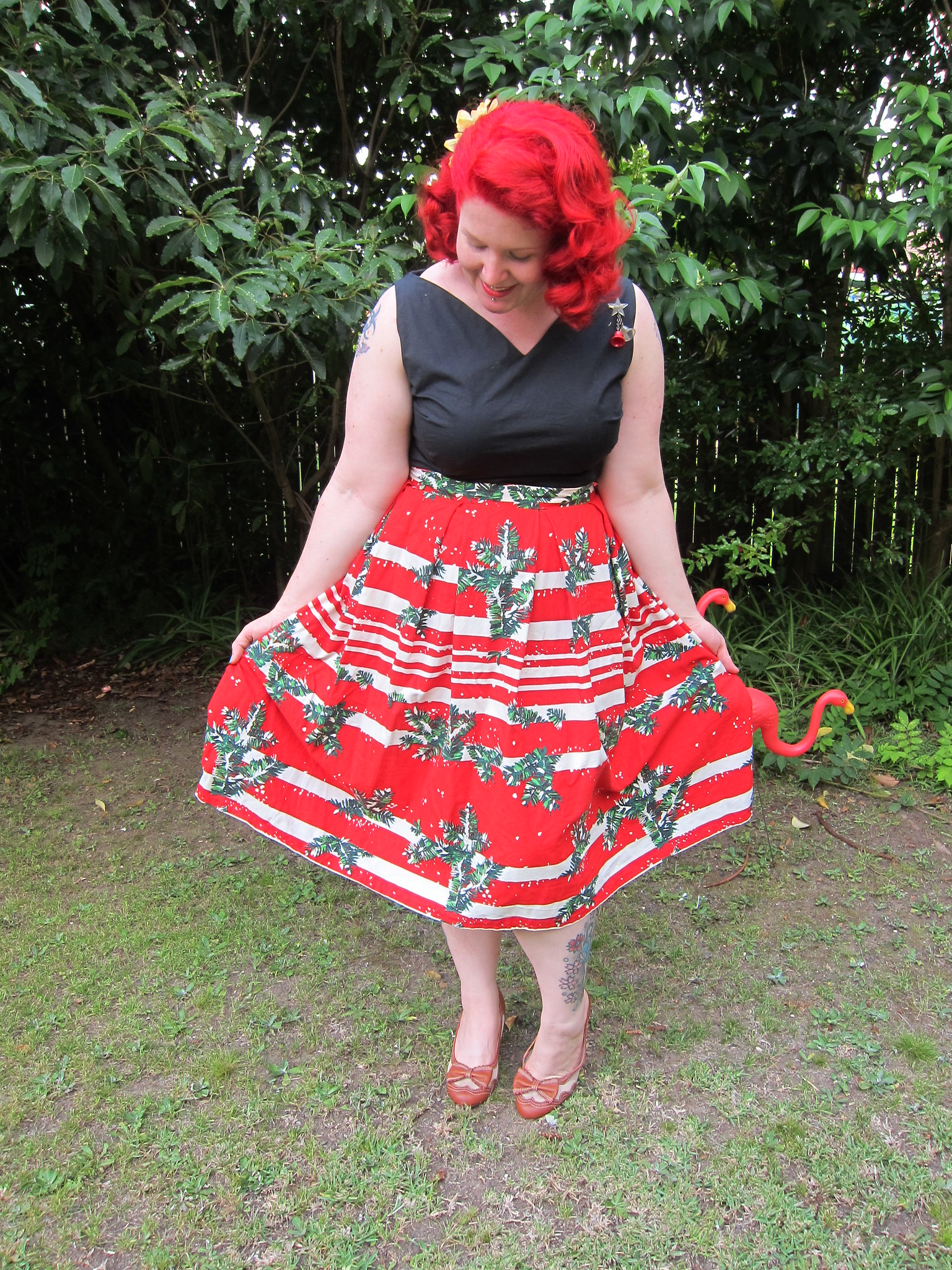 1940s novelty christmas skirt miss l fire fiftth avenue shoes review