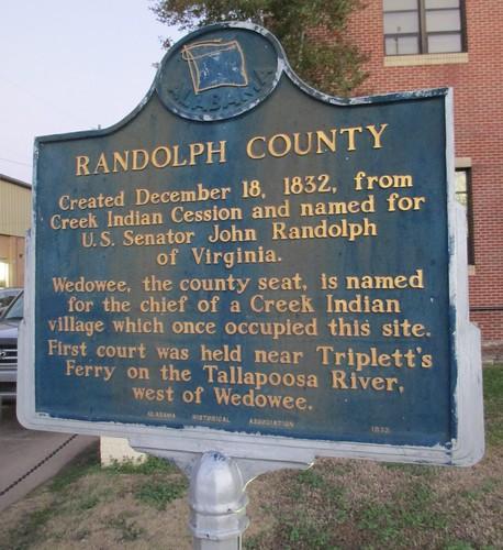 Randolph County Marker (Wedowee, Alabama)