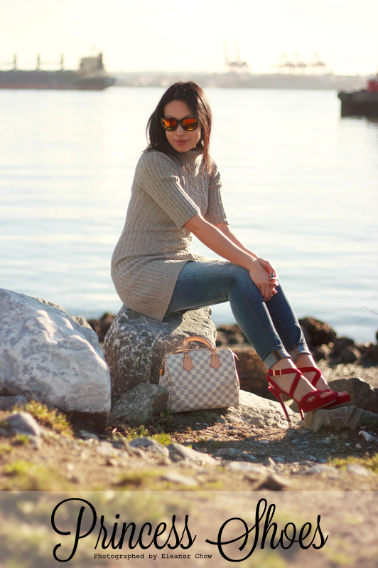 Gap Always Skinny Distressed Skinny Jeans, Old Navy turtleneck sweater dress, Jimmy Choo Vamp sandals, Zara mirrored sunglasses, Louis Vuitton Damier Azur Speedy, Mackage coat, fashion, style, Vancouver, winter