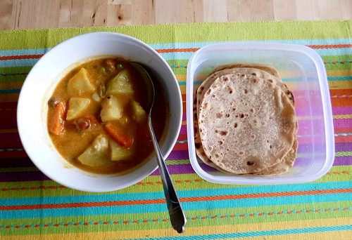 Homemade capatis and vege curry by adline✿makes