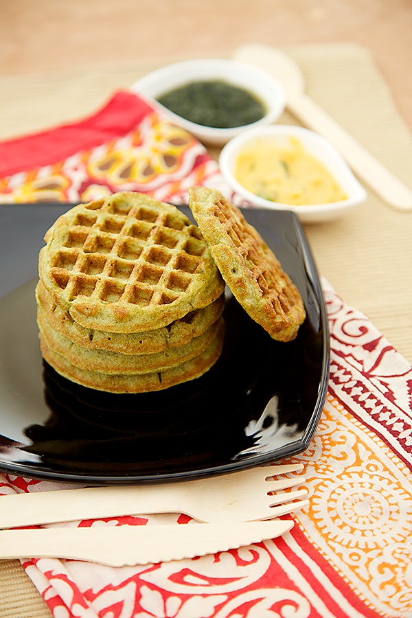 Moong Dal Waffles/Green Gram Waffles With Green and Red Chutney